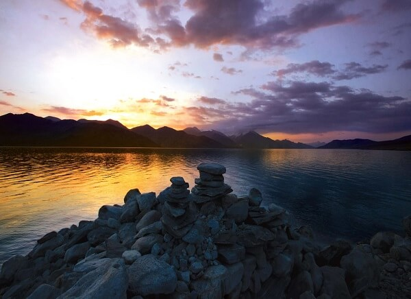 Pangong  Lake sunrise  Leh ladakh