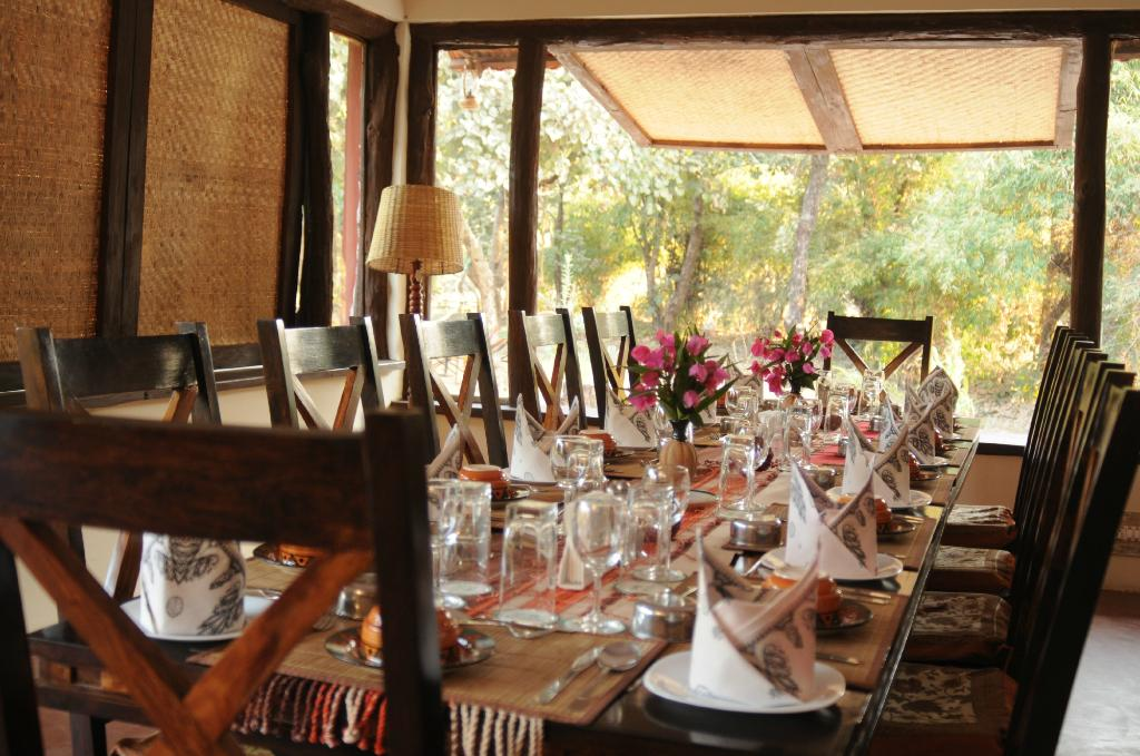 Dining at jungle lodge bandhavgarh