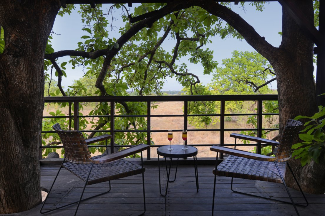 balcony view at pench tree lodge