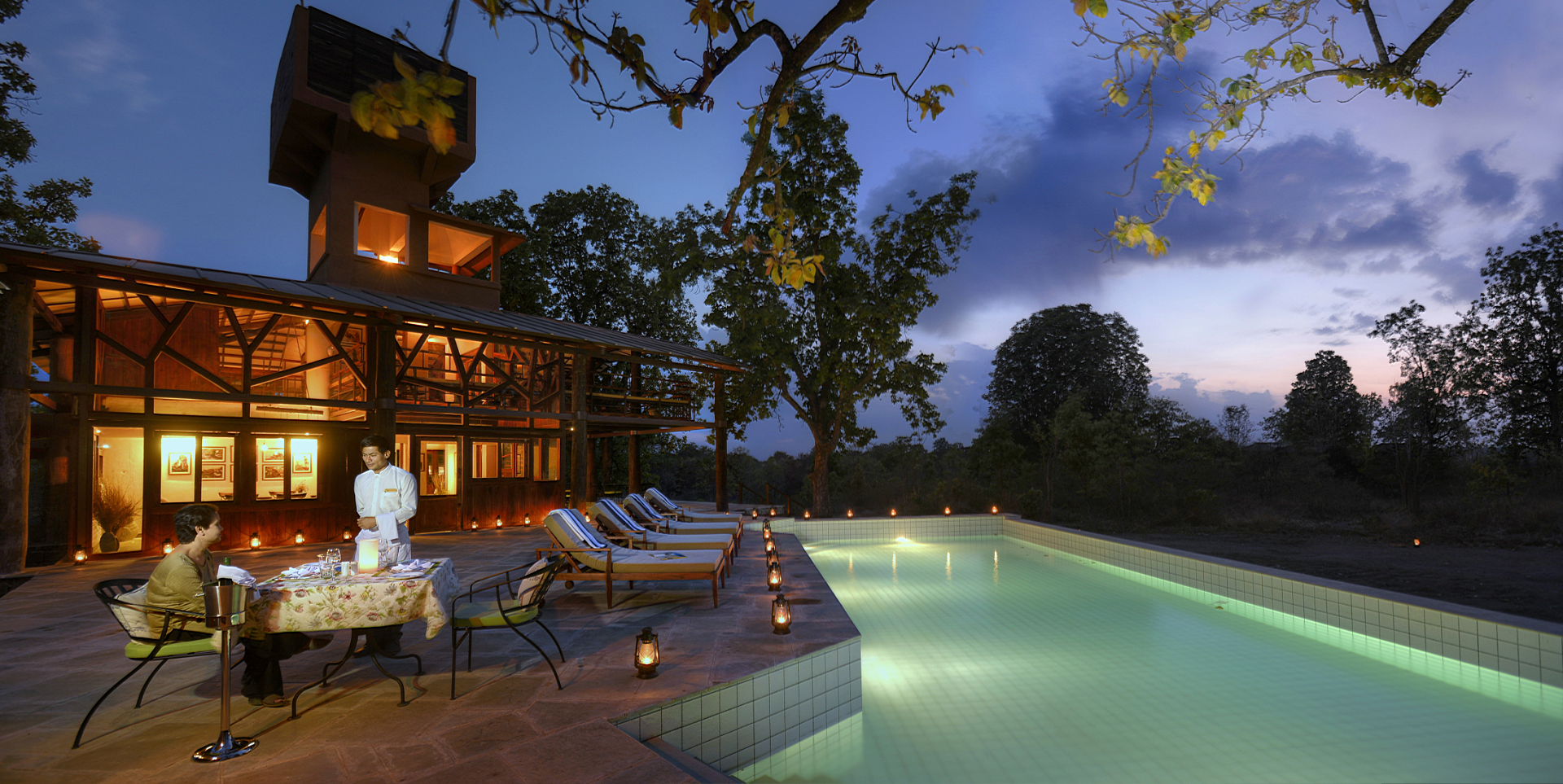 pool side pench tree lodge